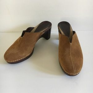 COLE HAAN Country Tan Suede Slip On Mules Clogs